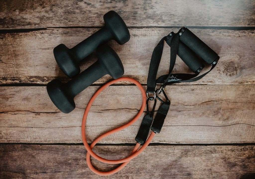 dumbbells and exercise band